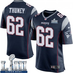 Nike Joe Thuney New England Patriots Youth Game Navy Blue Team Color Super Bowl LIII Jersey