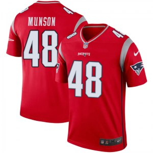 Nike Calvin Munson New England Patriots Youth Legend Red Inverted Jersey
