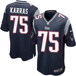 Nike Ted Karras New England Patriots Youth Game Navy Blue Team Color Jersey
